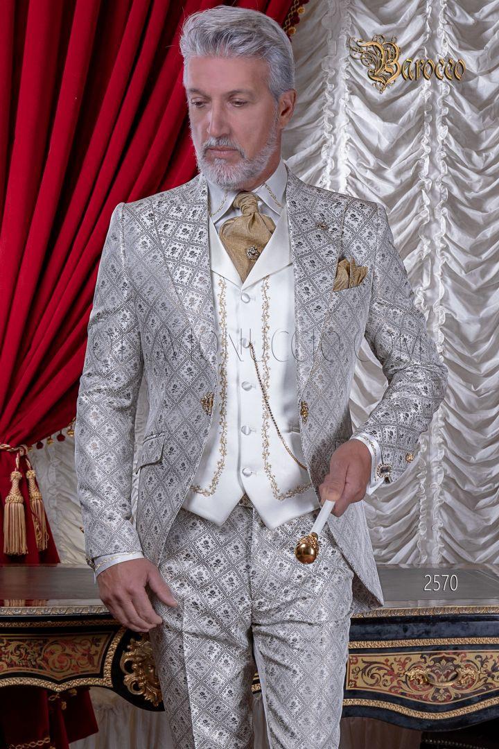 Abito uomo matrimonio barocco di lusso, broccato grigio perla oro