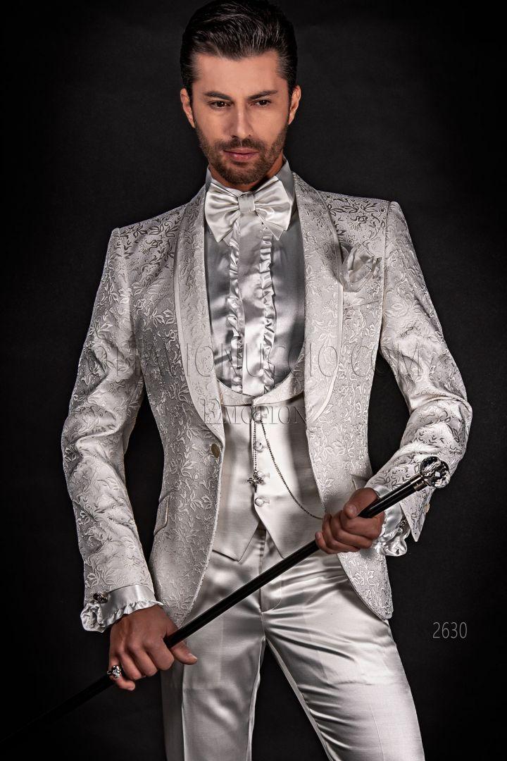 White brocade bespoke groom suit, satin trousers and waistcoat