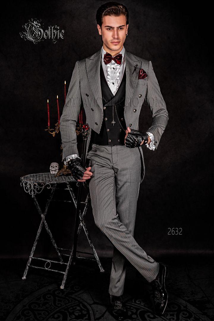 Frac moderno Steampunk gotico gessato nero grigio bottoni teschio