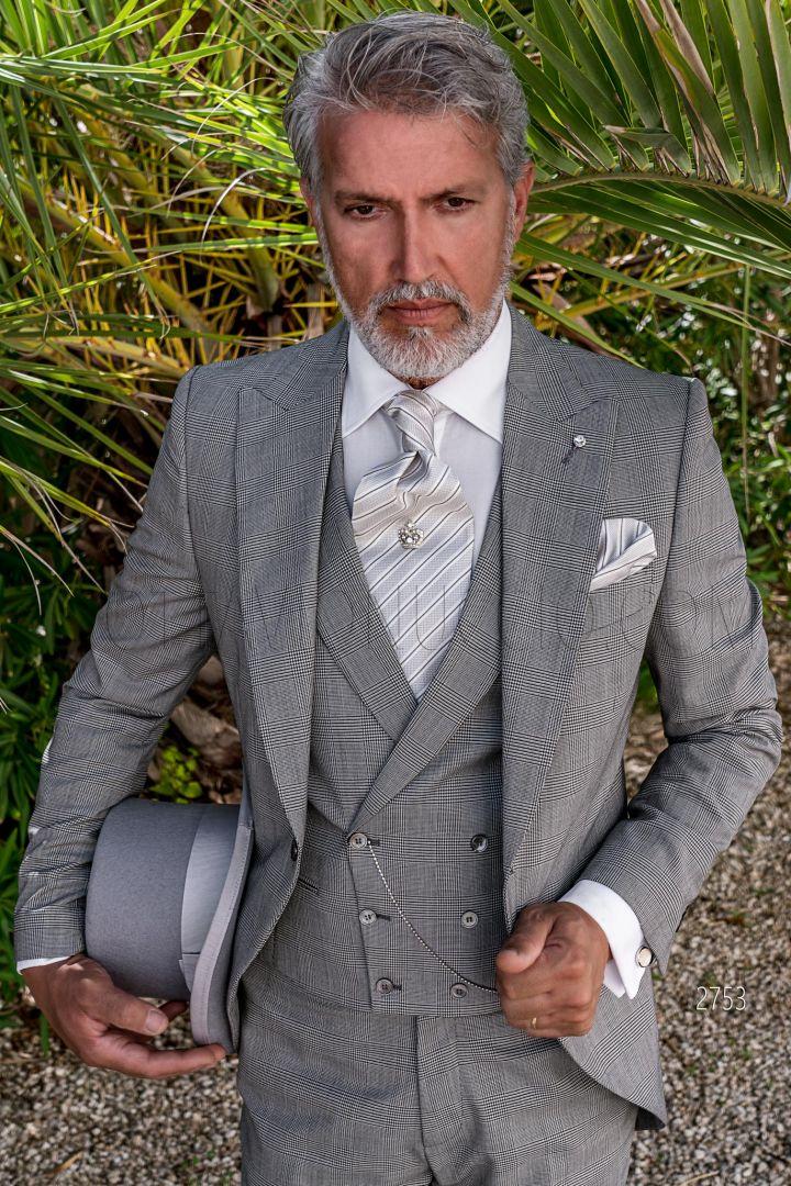 Graue Prince of Wales Cut Anzug für Bräutigam Ottavio