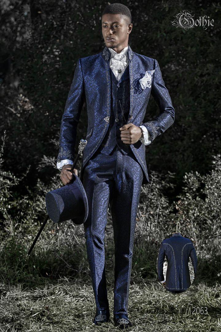Vestito da sposo stile barocco gotico blu ricamato argento