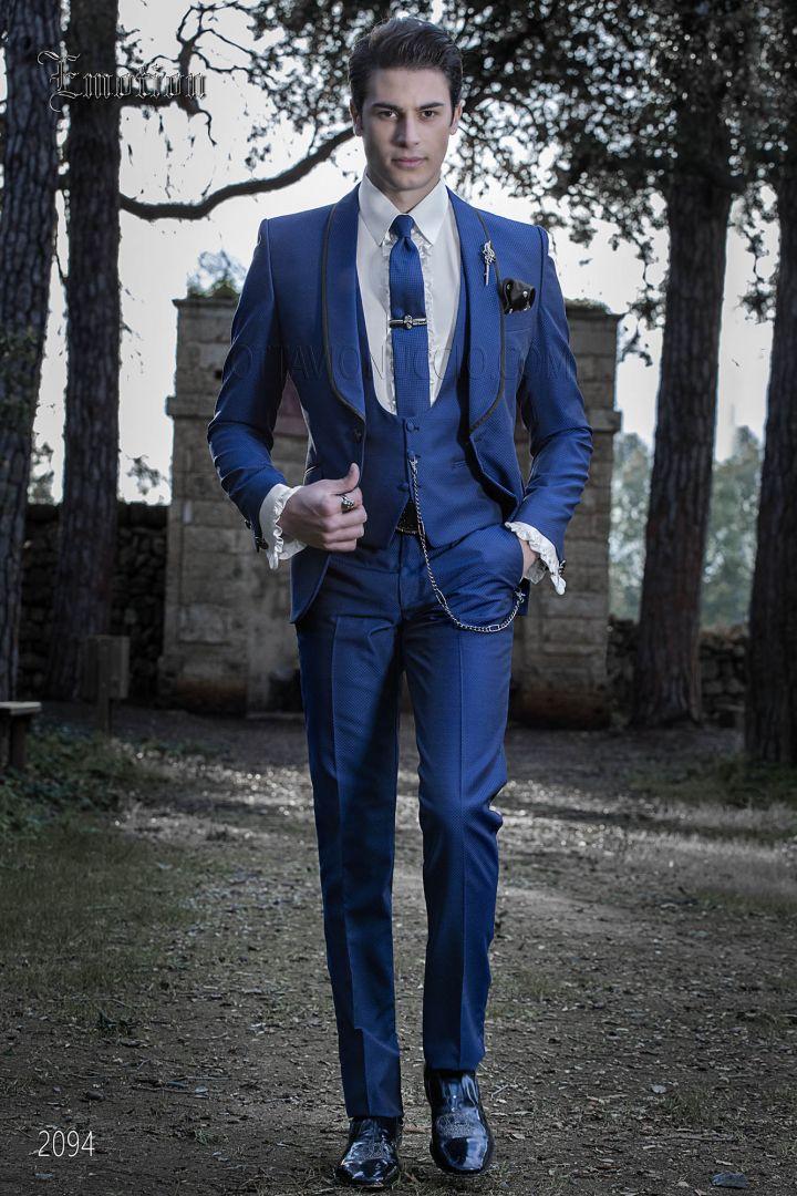 Abiti Da Cerimonia Uomo Blu.Abito Da Sposo Blu Elettrico Uomo Stile Moderno Ottavio Nuccio Gala