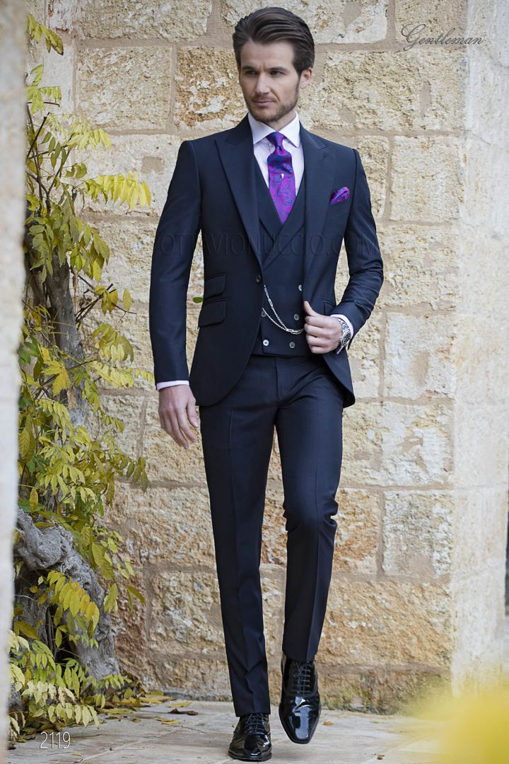 Abito da sposo blu moda uomo, in misto lana mohair