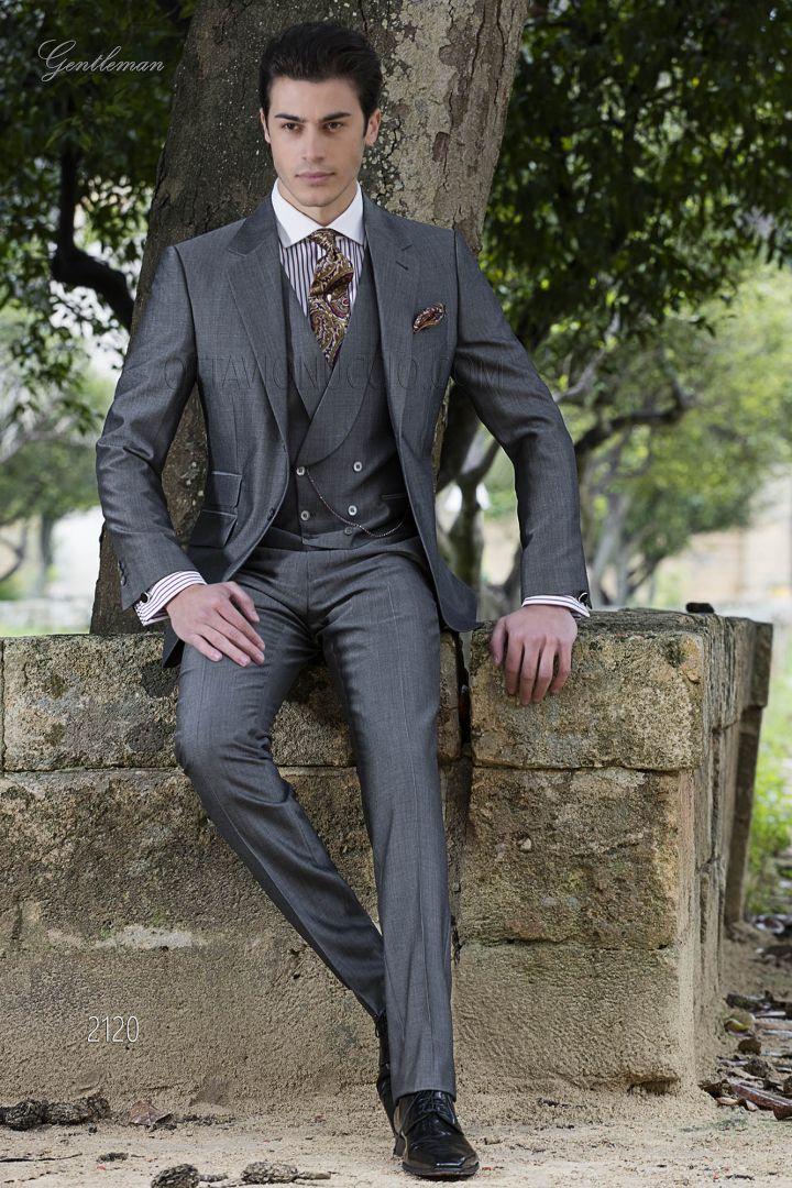 Abito da cerimonia moda uomo grigio in lana mohair