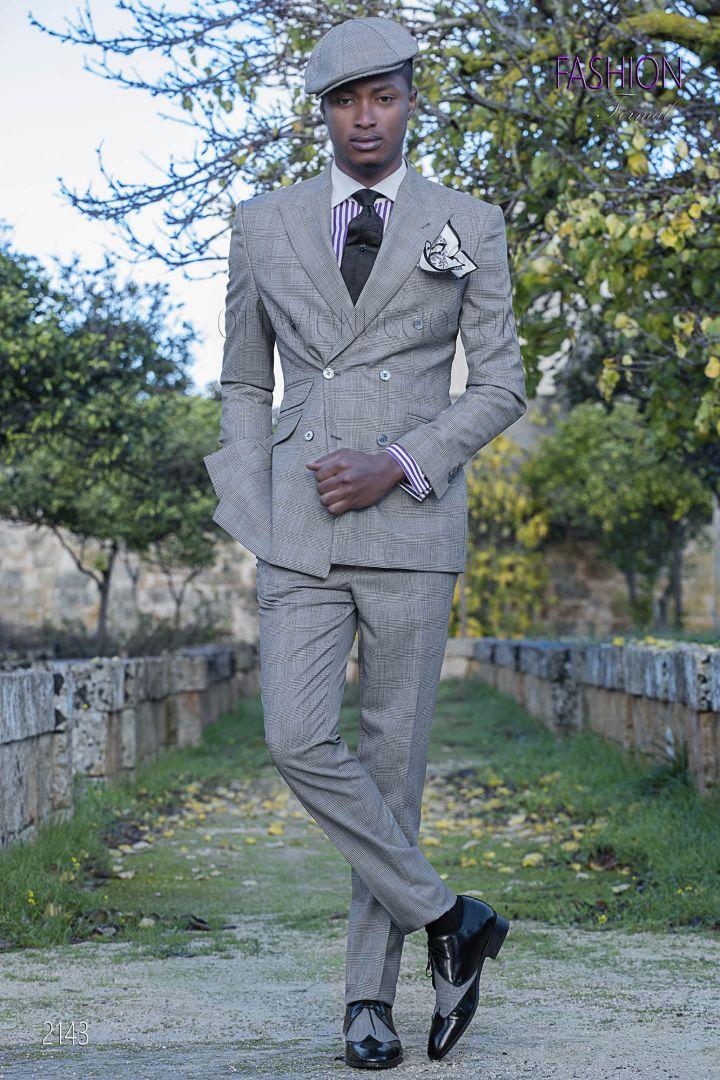 Abito da sposo doppiopetto fashion tessuto principe di galles grigio
