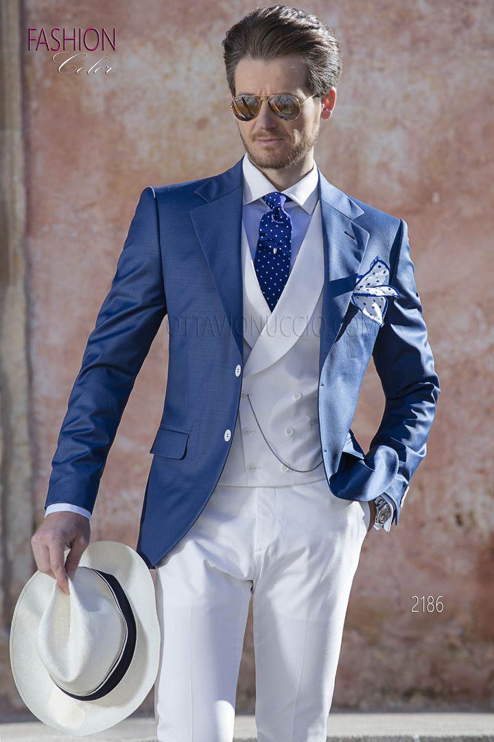 Abito sposo uomo, giacca blu con pantalone e gilet bianco