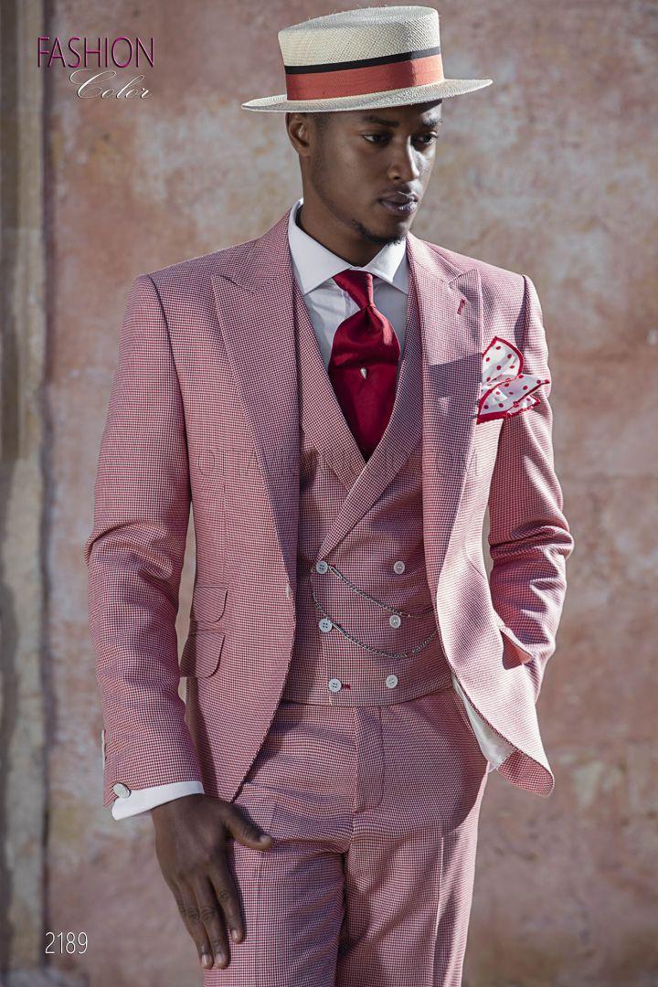 Abito fashion moda sposo uomo rosso in tessuto pied de poule
