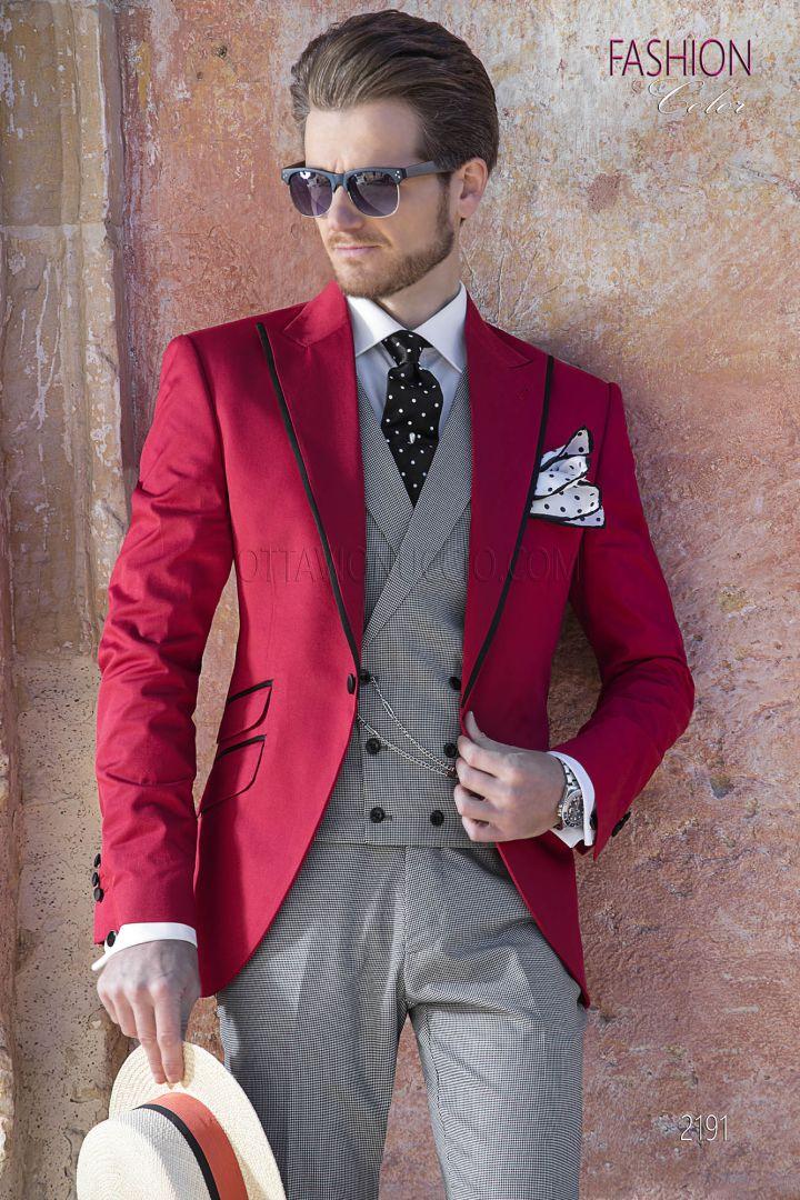 Completo da sposo uomo fashion rosso , pantalone e gilet pied de poule