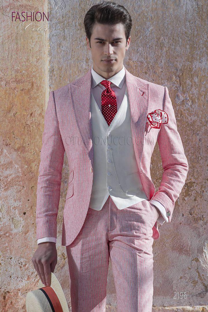 f275fa0a72f3 Abito vintage estivo da sposo millerighe di cotone rosso - Ottavio ...