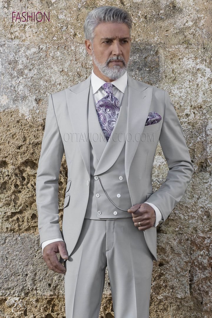 Abito da Cerimonia Uomo grigio con gilet in seta grigio perla