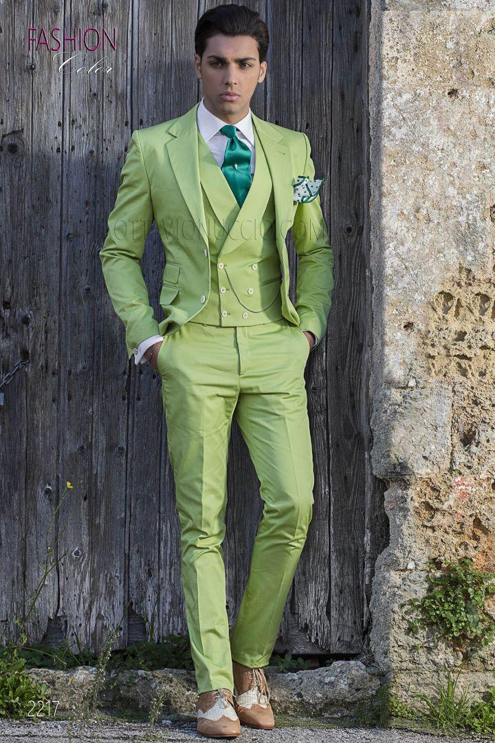 Abito cerimonia uomo vintage, moda sposo fashion puro cotone verde