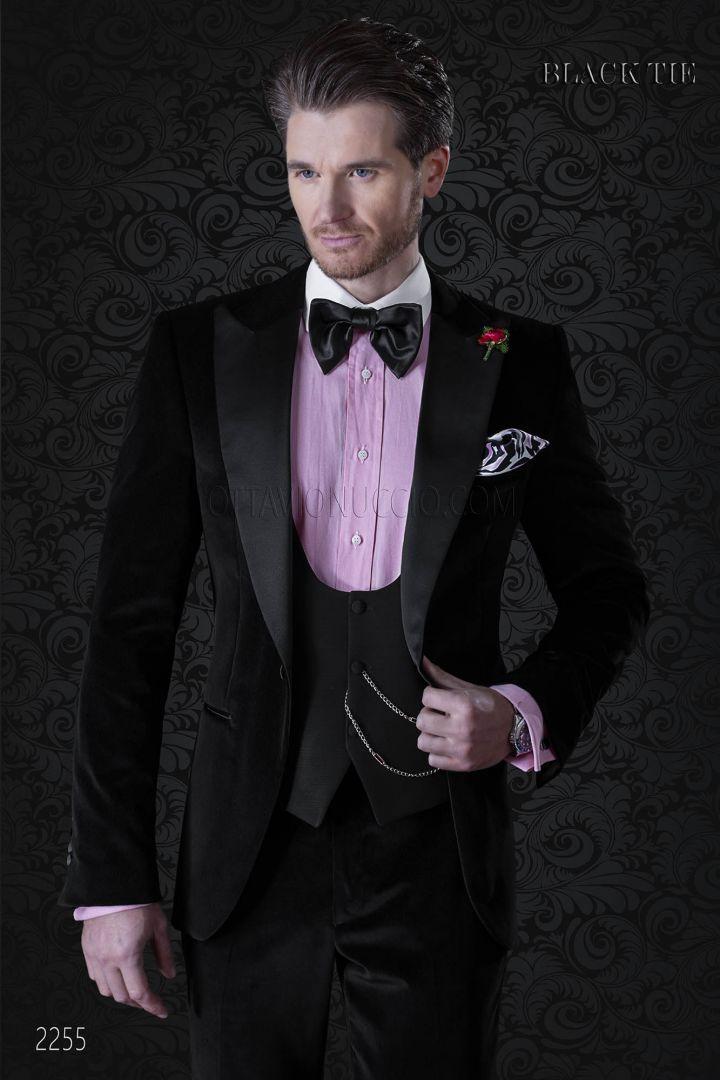 fc7e591f38f763 Luxury italian black velvet tuxedo with peak lapels - Ottavio Nuccio Gala