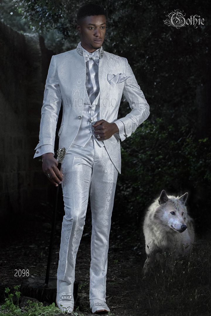 White italian gothic suit in brocade fabric with crystal trimmings