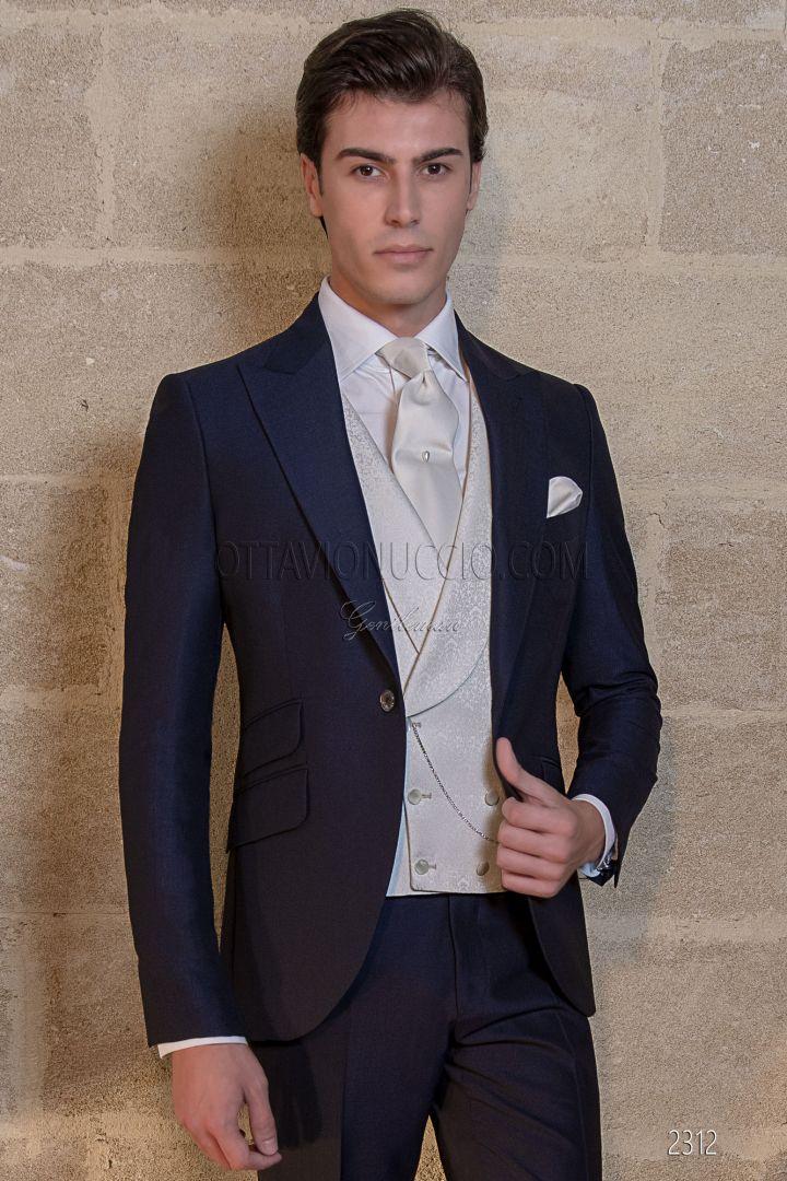 dbf8a8630100 Vestito blu da cerimonia uomo con gilet damascato grigio perla ...