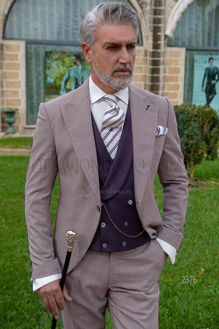 Tiefstpreis Vielzahl von Designs und Farben kommt an Hochzeit Bräutigam Cut Anzug aus burgund Hahnentrittmuster