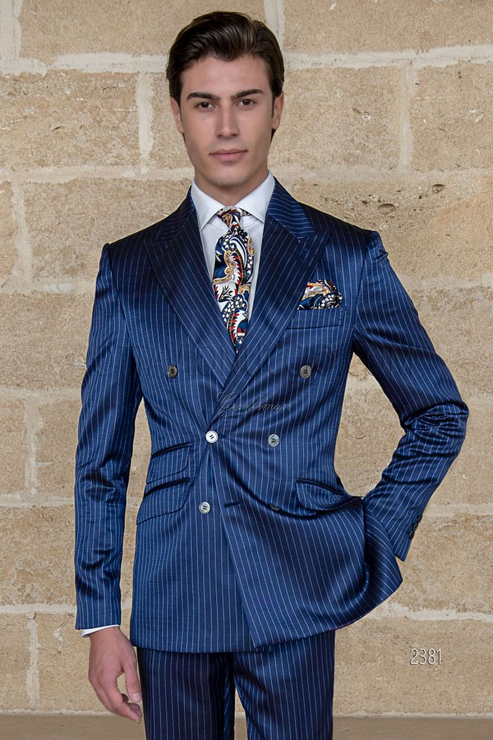 Italian royal blue pinstripe double breasted men suit ...