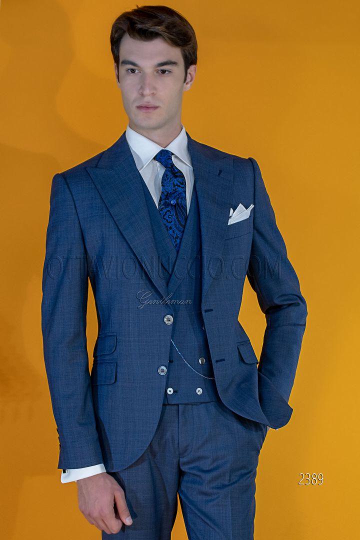 Costume Italien Luxe Mariage Homme En Prince De Galles Bleu