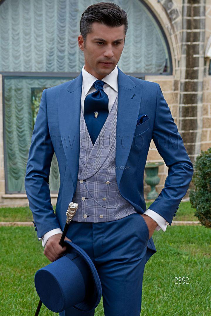 Bespoke Royal Blue Cool Wool Mix Modern Morning Dress Suit Ottavio Nuccio Gala