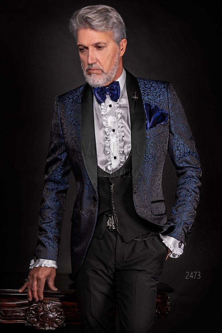 Matrimonio In Smoking : Giacca smoking blu damascato per matrimonio uomo moderno ottavio