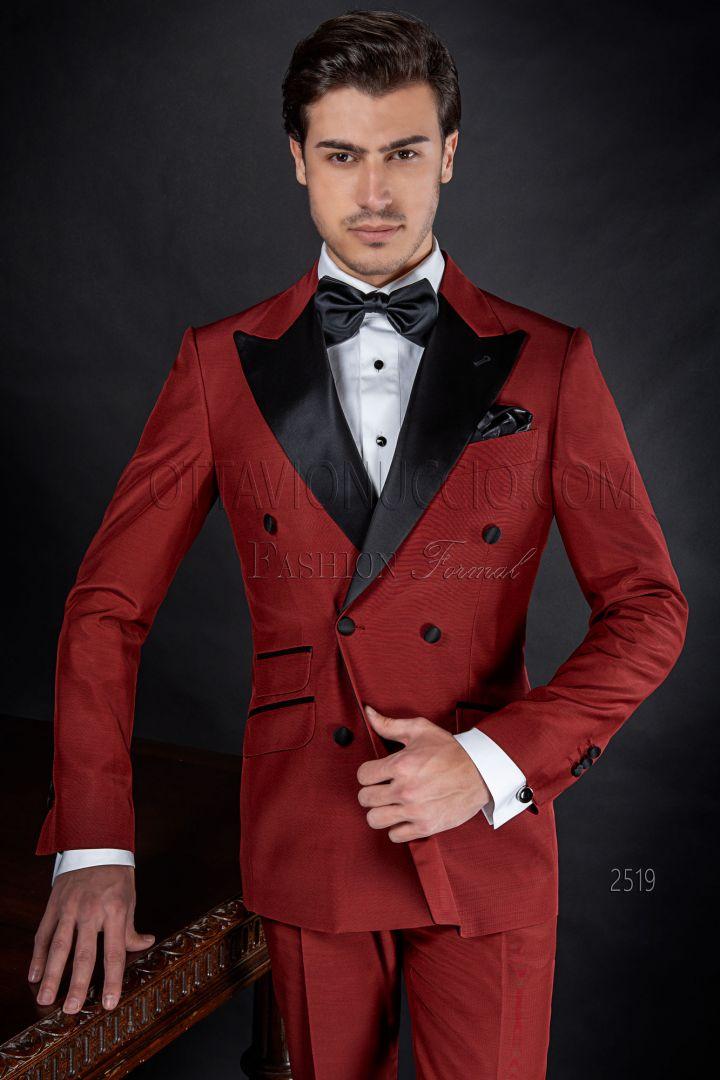 Costume homme mariage croisé rouge avec dé