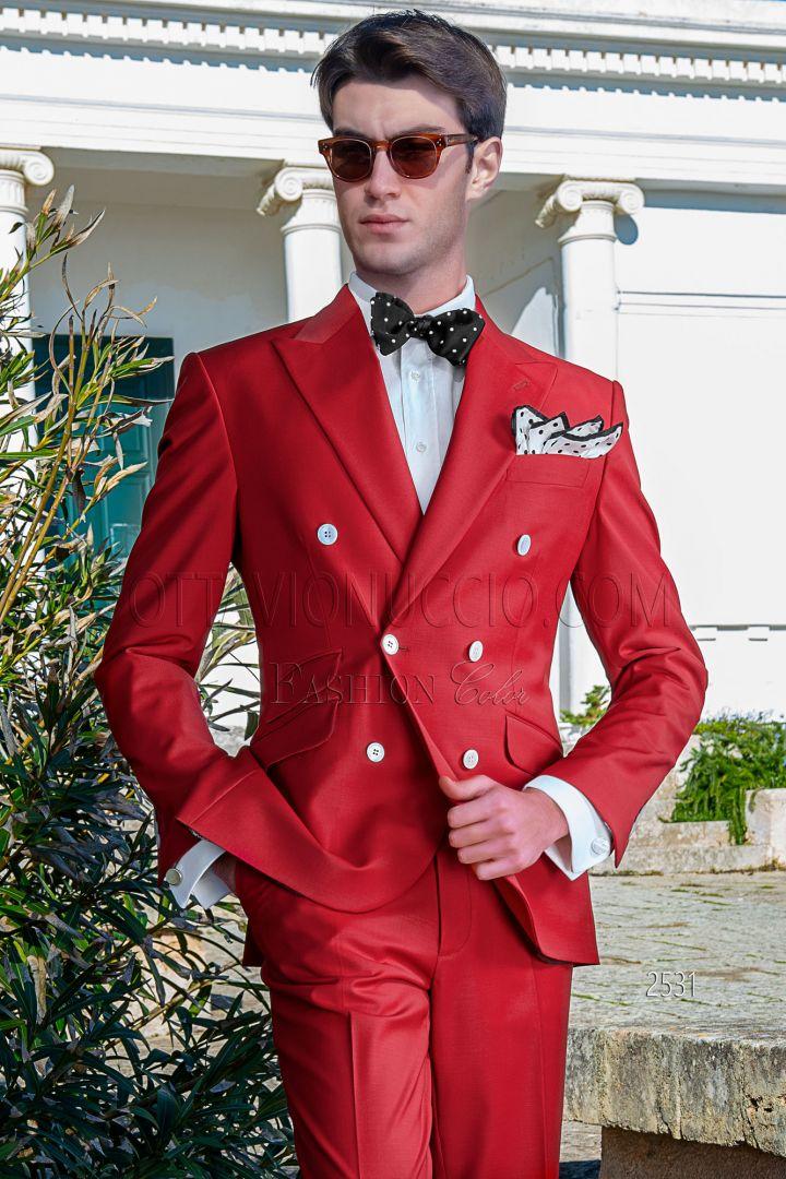 Abito Matrimonio Uomo Rosso : Abito doppiopetto uomo da matrimonio civile in cotone rosso