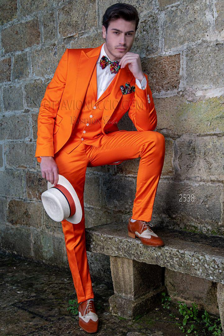 Uomo Matrimonio Estivo : Abito da matrimonio estivo uomo in raso di cotone arancio ottavio