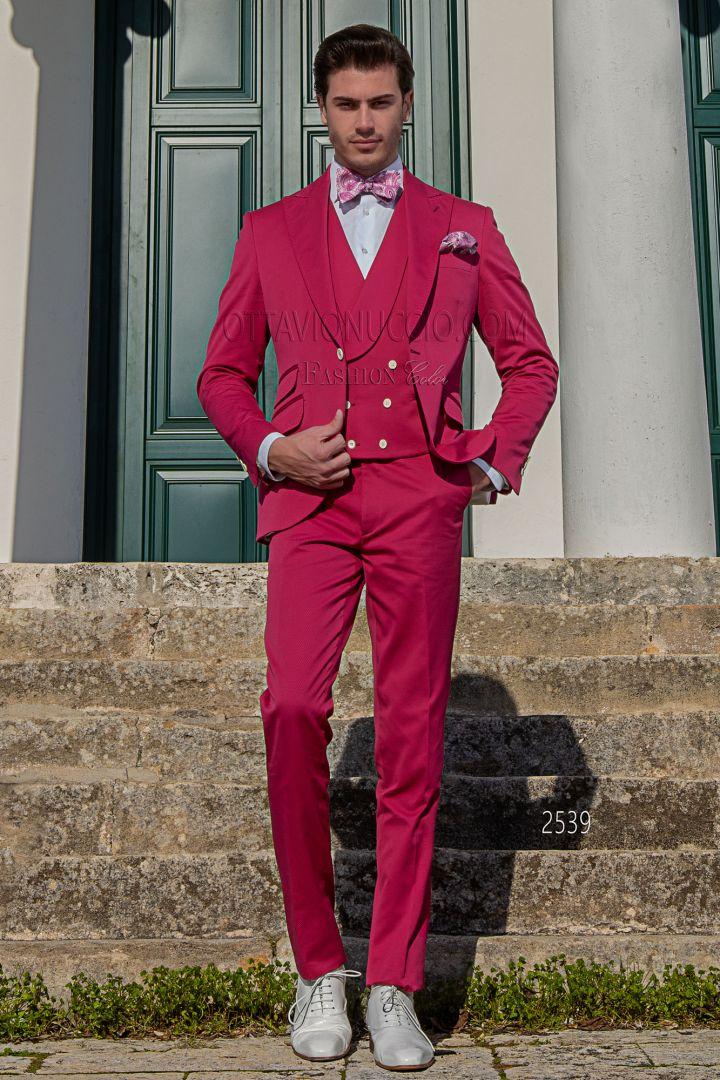 Fashion Matrimonio Uomo : Abito moderno da matrimonio civile uomo in cotone fucsia ottavio