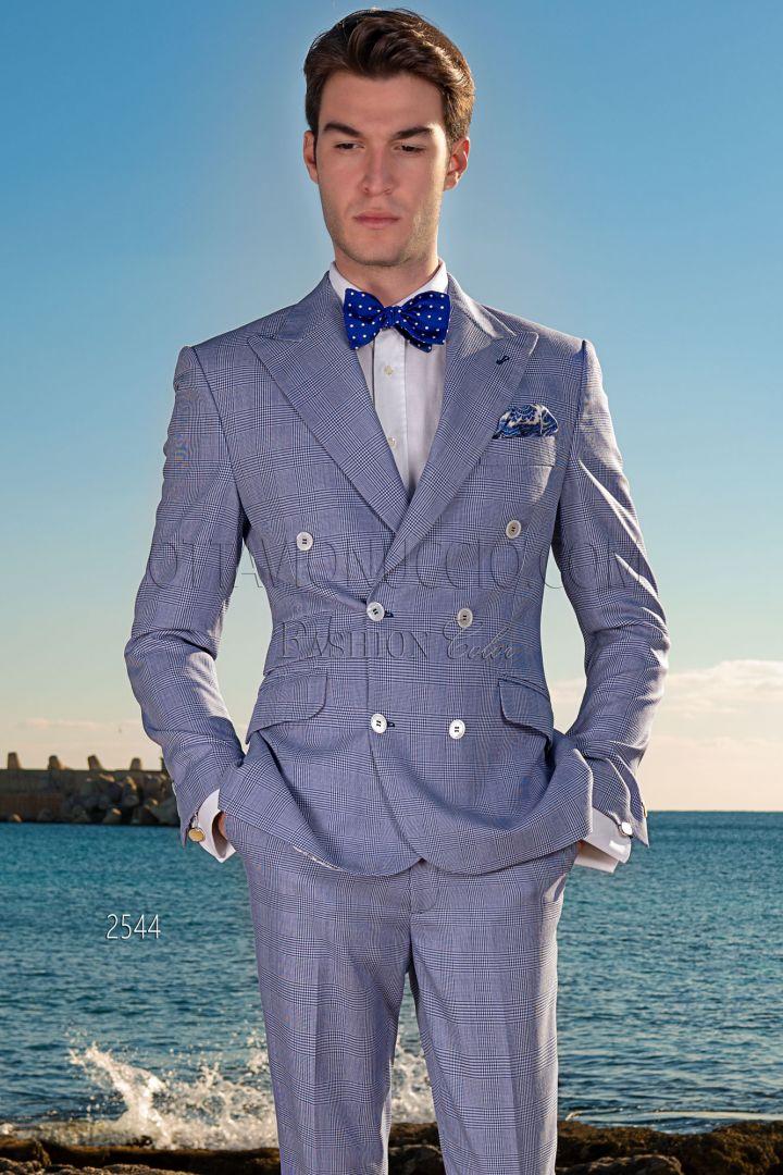 Vestito Matrimonio Uomo Blu : Vestito matrimonio estivo uomo doppiopetto principe di galles blu