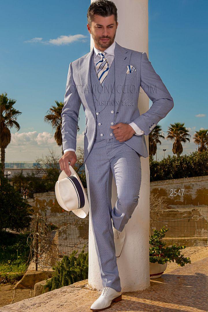 Abbigliamento Uomo Matrimonio Estivo : Abito vintage uomo matrimonio estivo in pied poul blu royal