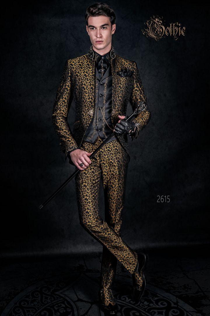Vestito Matrimonio Uomo Nero : Vestito cerimonia uomo stile gotico coreano broccato nero oro
