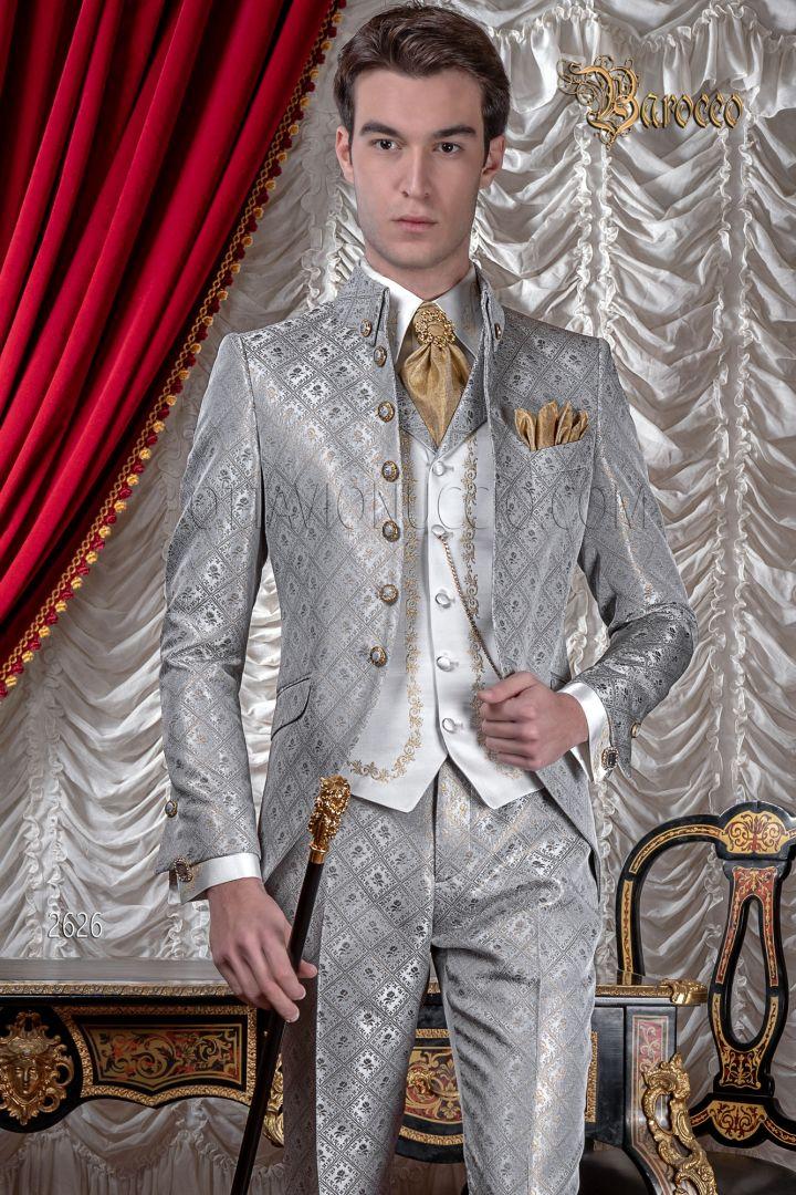 Abito sposo uomo di lusso stile barocco, damascato grigio oro