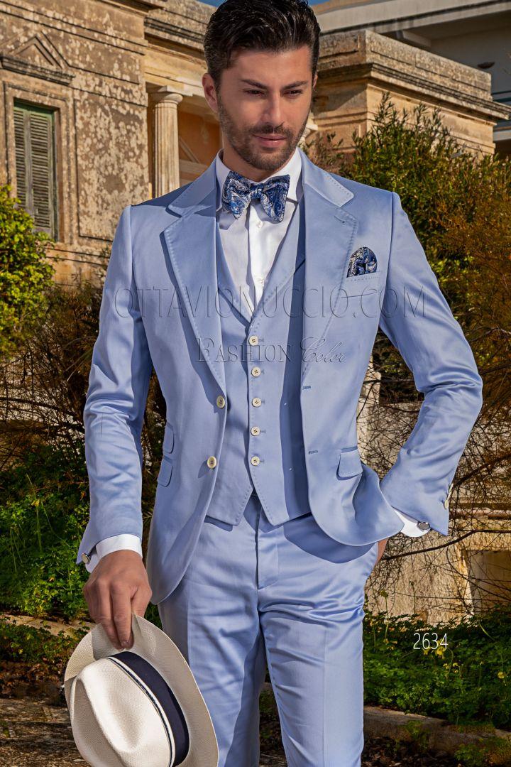 Vestito da matrimonio estivo uomo in raso di cotone celeste