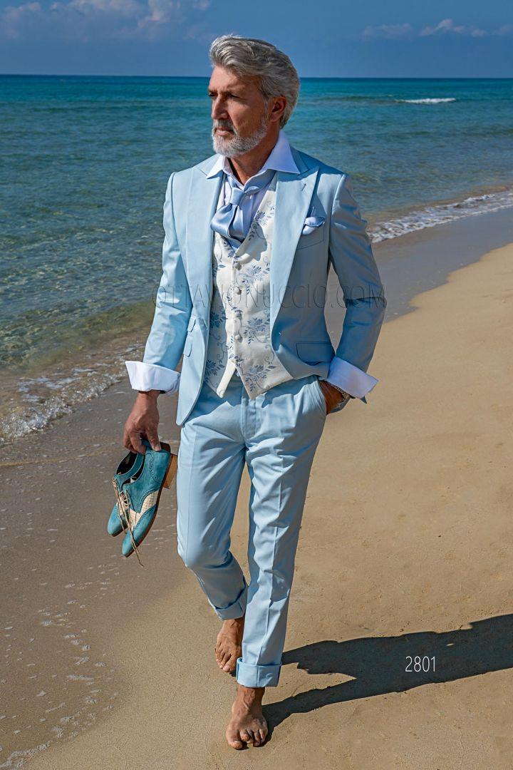 Abito estivo da cerimonia uomo elegante in raso di cotone celeste