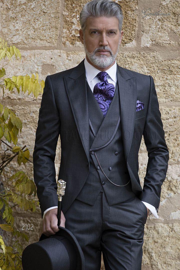 Stufen von besserer Preis für 60% Rabatt Cut vintage Bräutigam Anzug dunkelgraue aus Wollmischung