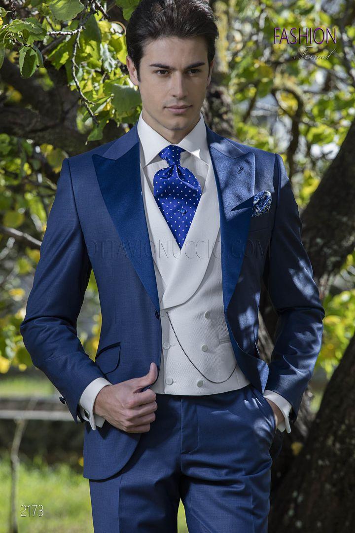 shoes for cheap retail prices lace up in Costume bleu roi mariage italien avec gilet blanc croisé
