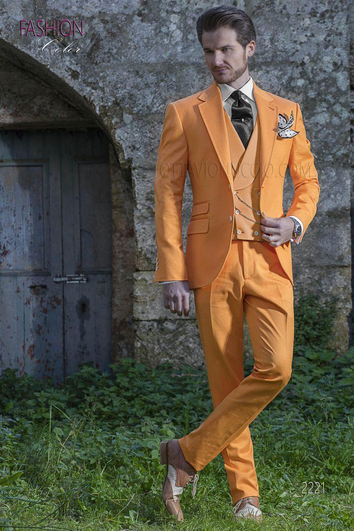 Fashion Matrimonio Uomo : Abito uomo per matrimonio hipster sposo fashion puro cotone arancio