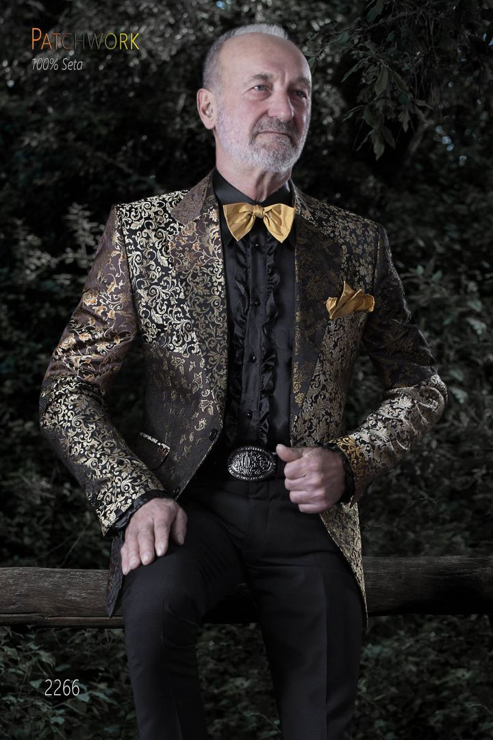 Giacca uomo seta patchwork oro | Giacca su misura