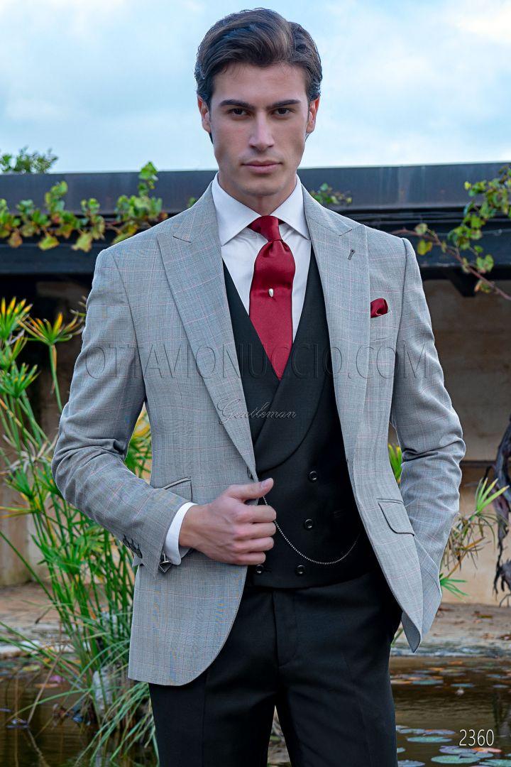 Traje de novio moderno italiano gris príncipe de gales cuadro rojo