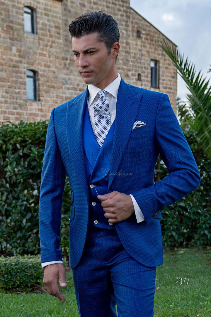Abito uomo cerimonia fashion pied poul blu royal