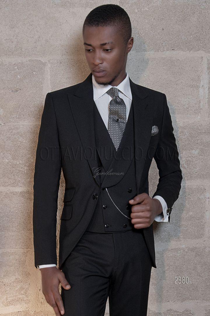 Traje italiano moderno boda novio mixto lana negro