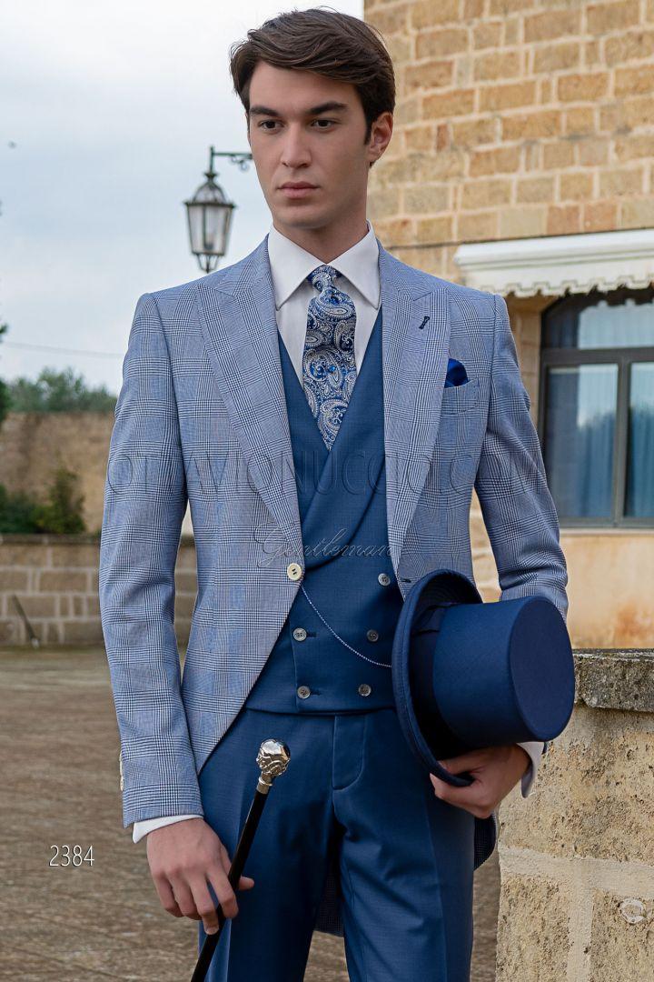 Vestito tight moderno sposo principe di galles check blu