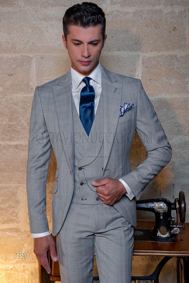 Traje de novio moderno Príncipe de Gales gris claro y celeste