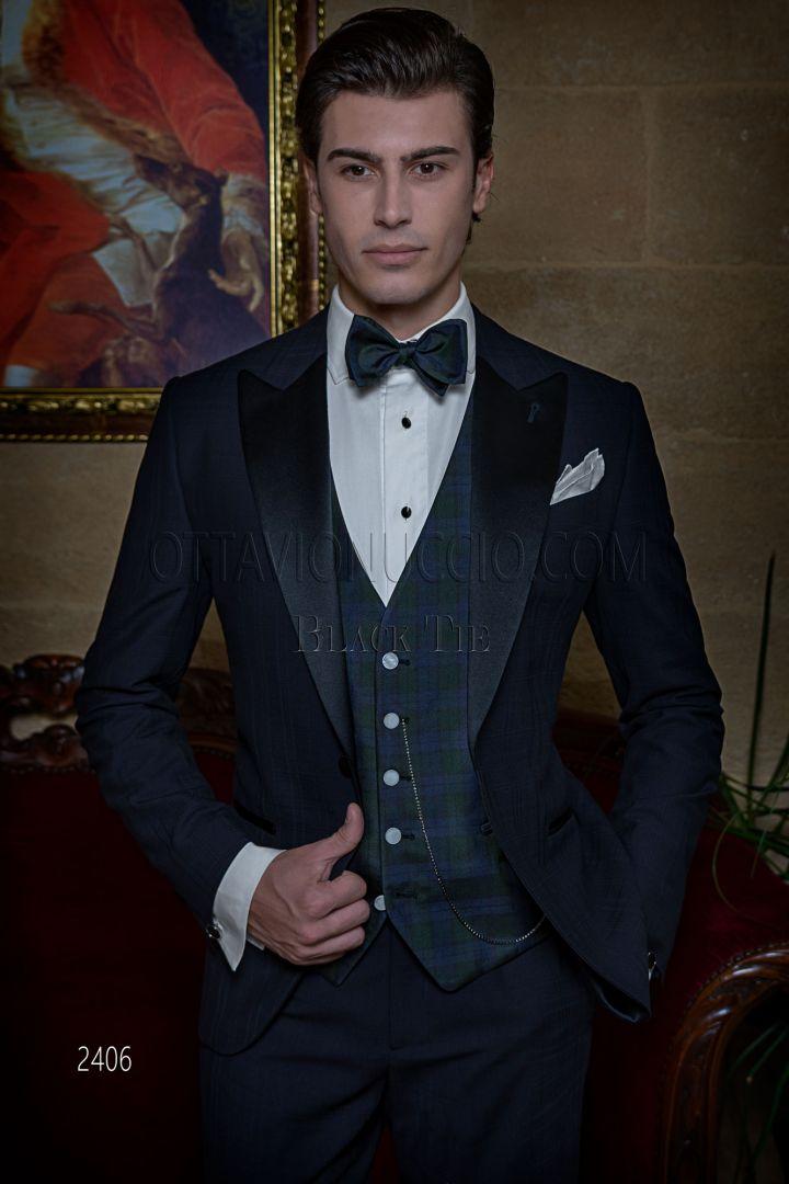 Vestito Smoking uomo da red carpet blu a quadri