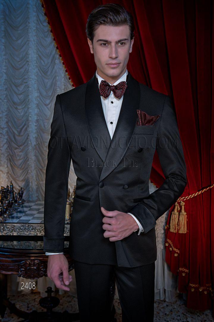 Smoking uomo elegante doppiopetto sciallato nero