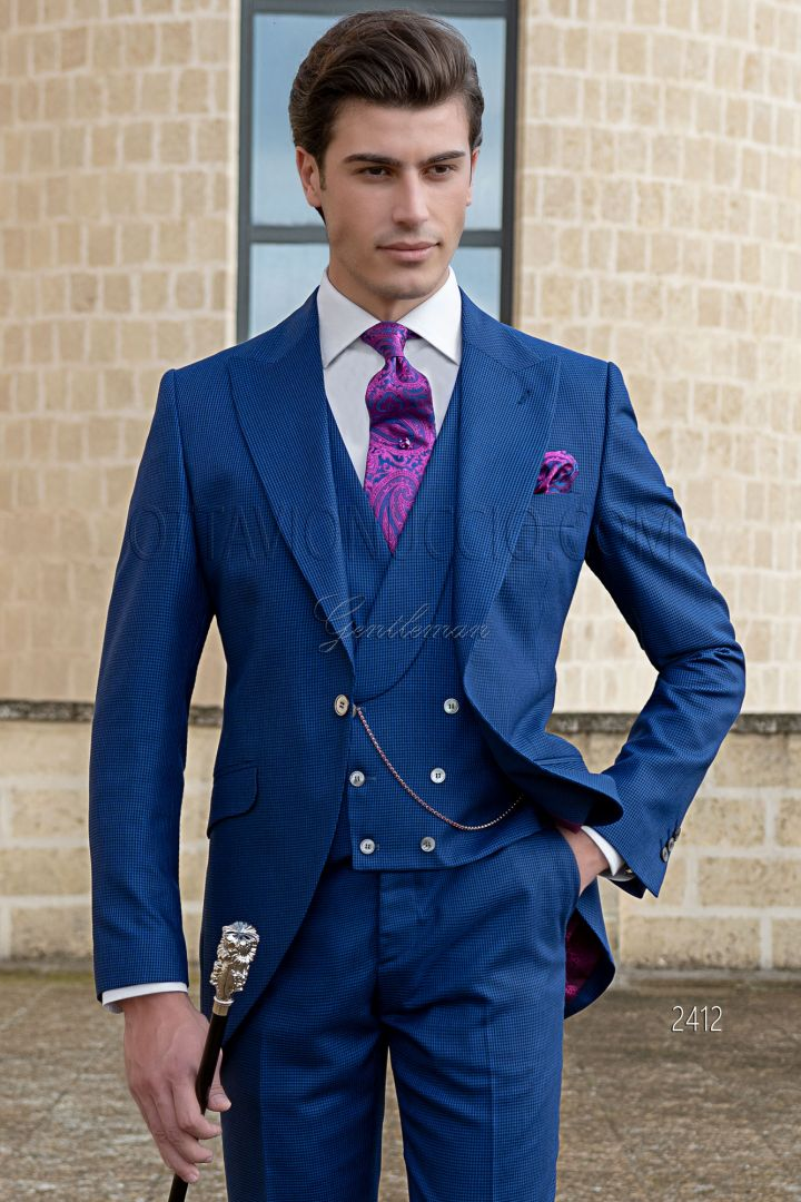 Vestito da sposo moderno blu royal pied de poul