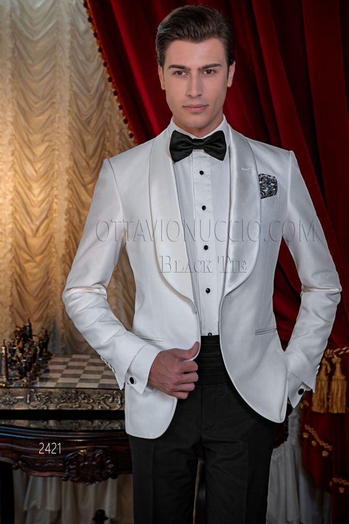 Costume smoking italien luxe shantung blanc col châle