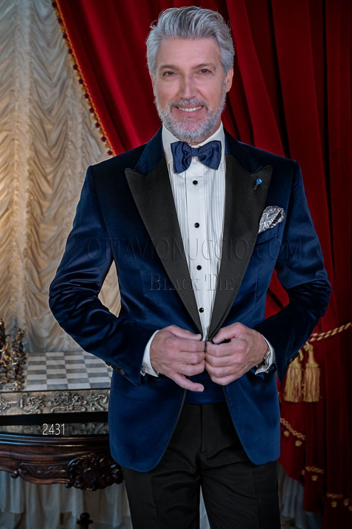 Smoking uomo velluto blu da red carpet, cerimonie di sera