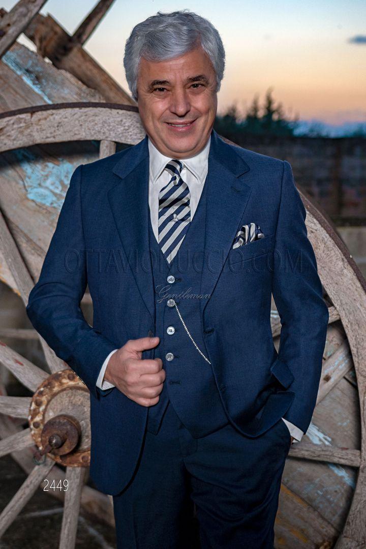Abito cerimonia uomo classico blu in pura lana
