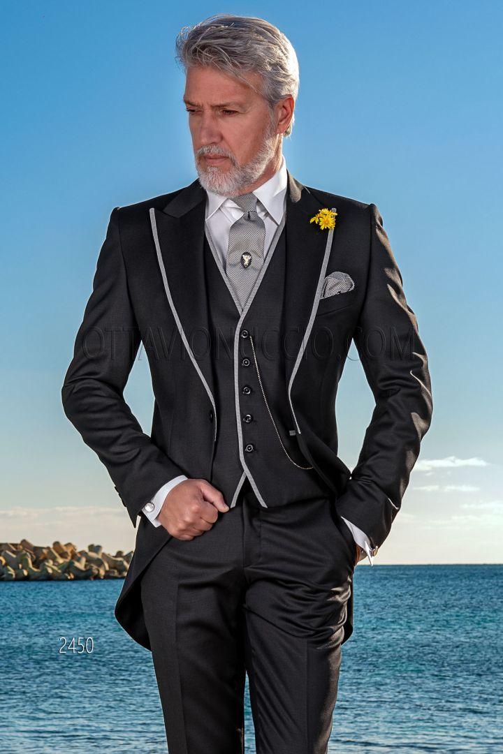 Vestito sposo tight moderno in lana nero, profili in pied de poule