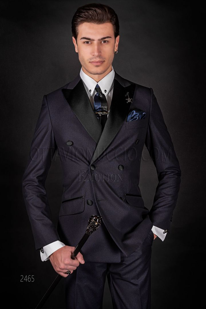 Modern italian double-breasted blue wedding suit with satin lap